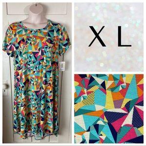 NWT LuLaRoe Carly Dress - Bright Mosaic Geometric
